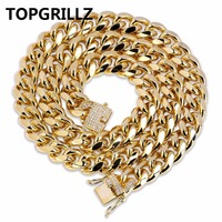 TOPGRILLZ Gold Color Plated Cuban Chain Necklace With 1ct Lab Cubic Zirconia Clasp Hip Hop Necklace