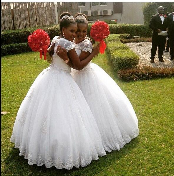 White Ball Gown Flower Girl Dresses For Teens Applique Lace Girls ...
