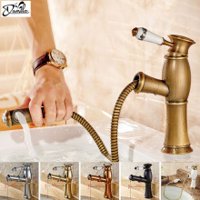 New Pull Out Antique Kitchen Faucet Crystal+ Copper Sink Nickel Brushed Kitchen Mixer Classica Mixers Faucets/Bathroom Faucet