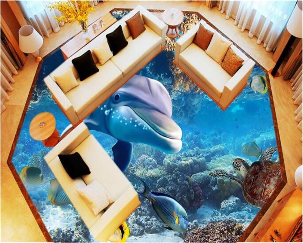 beibehang Cute Dolphin Fashion Advanced Aesthetic Waterproof papel de parede Wallpaper 3D Underwater World 3d flooring wallpaper