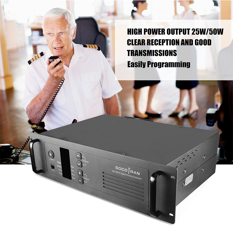VHF Walkie Taklie Repeater 50W 100ch SOCOTRAN MD-8500 136-174MHz Two Way Radio Base Station DMR & Analog Repeater With Duplexer