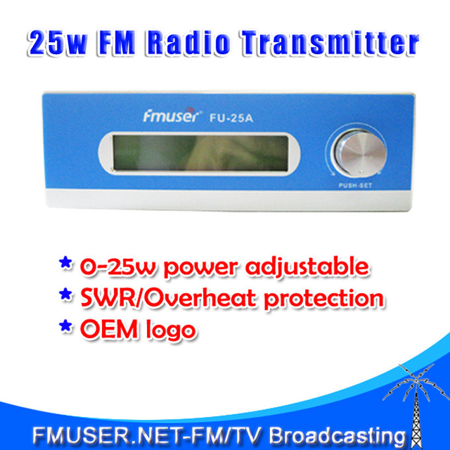 New! FMUSER FU-25A 25W FM Transmitter for FM radio station 0-25w Mono/Stereo adjustable SWR Temp Protection 1 button design