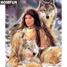"HOMFUN Volledige Vierkante/Ronde Boor 5D DIY Diamant Schilderij ""Indian Wolf"" Borduren Kruissteek 5D Home Decor gift A06447(China)"