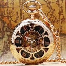 Luxury Rose Golden Flower Hollow Case Design Black Skeleton Roman Number Dial Fob Mechanical Pocket Watch