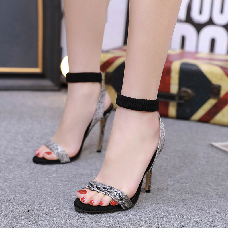 Sexy Leopard Snake Pattern High Heels Women 39 s Sandals NIUFUNI 2019 New Stiletto Ladies Roman Shoes Elastic Band Casual Shoes in High Heels from Shoes