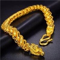 Аутентичные 24 К желтого золота Таиланд Голова Дракона Для мужчин браслет Тяжелая Золотая 19 г модные