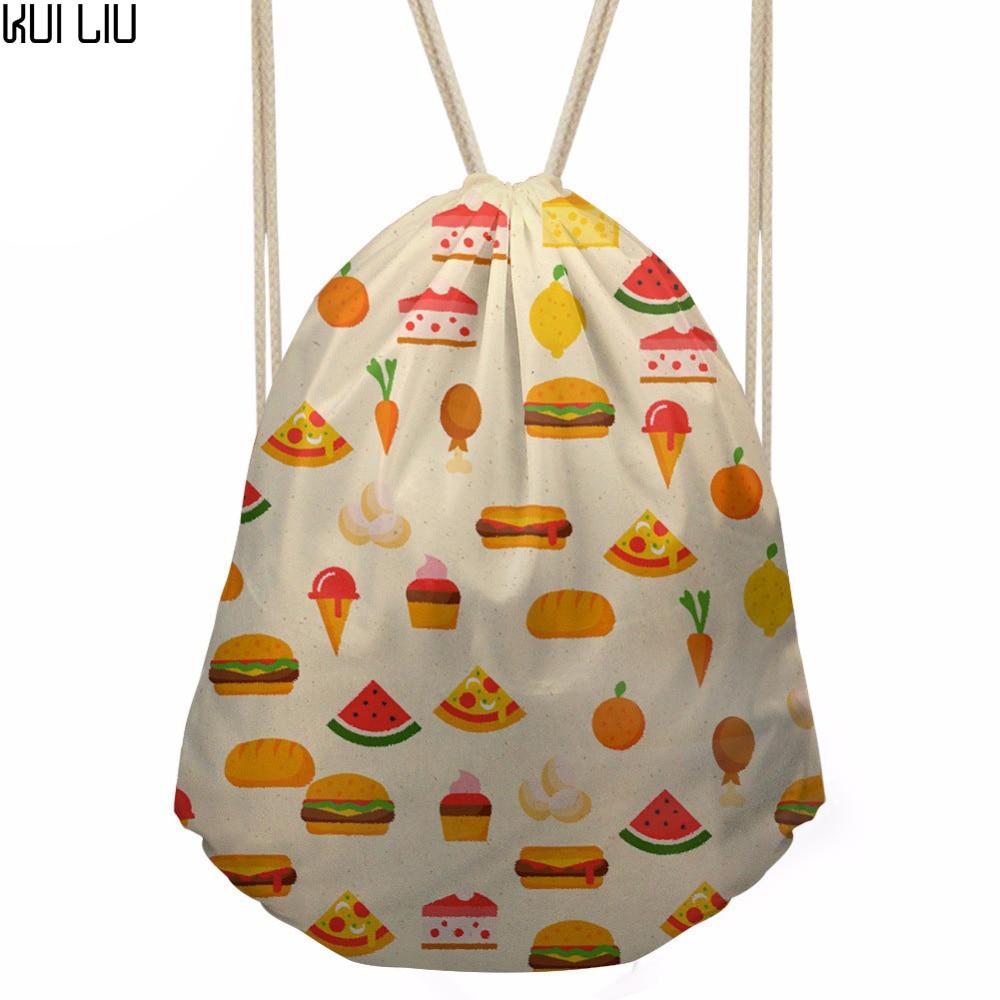 Women's Food Hamburger Prints Drawsting Bag Girls Mini Travel Package For Kids Cartoon Satchel Backpack Mochila