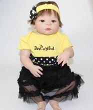 Realista renacer Baby Doll 23 pulgadas de Vinilo Muñeca de Silicona Completo Mirada Verdadera Princesa Niña de Muñecas de Colección Por NPK Muñeca