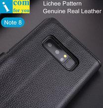 Funda abatible de cuero con patrón Lichee para Samsung Galaxy Note 8 Note8 Cartera de lujo interior de TPU