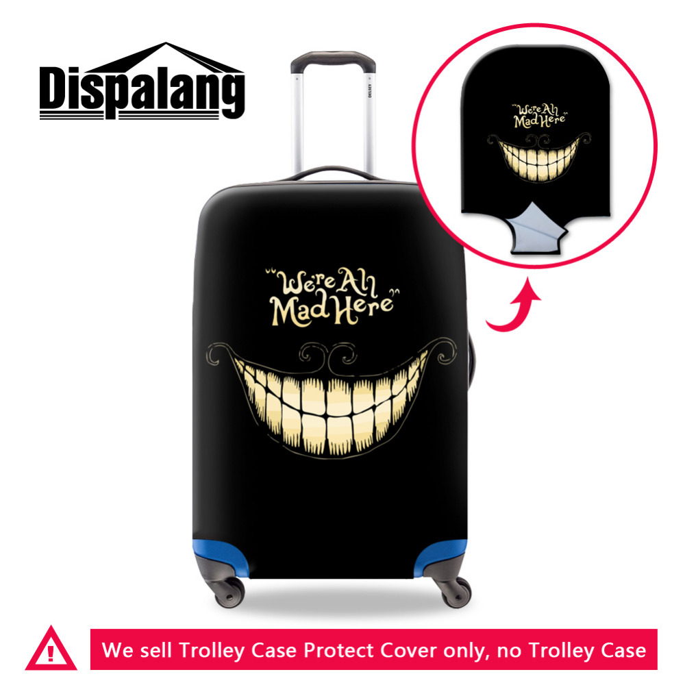 Fashion We're All Mad Here Mens Luggage Covers For 18-30 Inch Suitcase Skull Travel Accessories Elastic Luggage Protective Cover