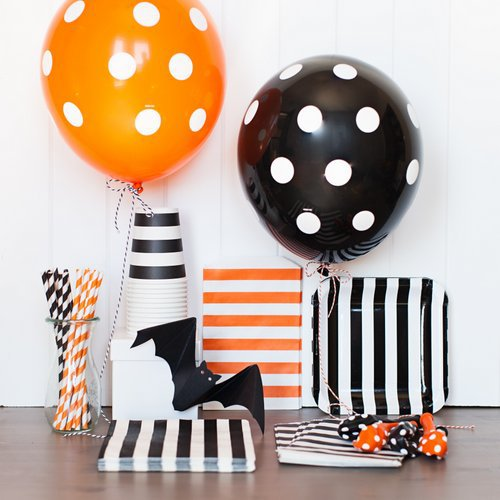 pgp halloween party tableware kit polka dot balloons paper stripes cups straws napkins bags plates for kids decoration set in party diy decorations from