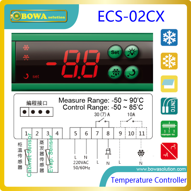 Digital temperature controller for refrigeration appliances and cold rooms, with Defrost control and Front panel mounting