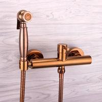 Розовое золото ручной биде спрей Shattaf распылитель Jet + горячей и холодной смесительный клапан комплект