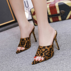 Image 4 - Pointed Toe High Heel Slippers High Heel Slippers Sandals Woman Shoes Sandalias Candy Orange Blue Black Yellow 2019 Summer New