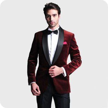Fashionable One Button Dark Red Velvet Groom Tuxedos Shawl Lapel Groomsmen Men Blazers Suits (Jacket+Pants+Tie) NO:352