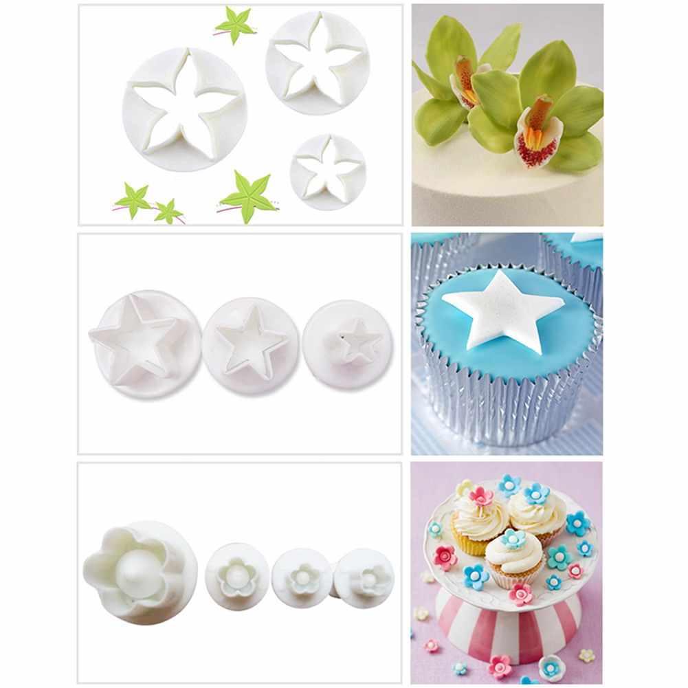 1/33 sztuk narzędzia do dekorowania masą cukrową kremówka tłok wycinarki narzędzia Cookie forma na ciasto biszkoptowe zestaw kwiatów akcesoria do pieczenia