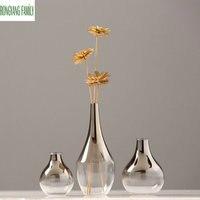 Europe Brief Glass Vase Modern Fashion Hand blown Flowers Vase Home Room Study Hallway Wedding Decoration Tabletop Plant Vases