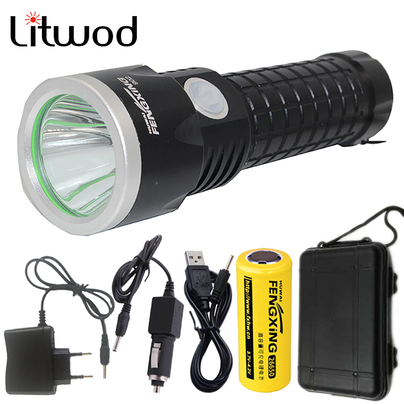 купить Litwod Z30902 Led Flashlight Torch XM-L T6 3800LM Rechargeable With 26650 Battery AC Charger Car Charger USB Charger & Tool Box недорого