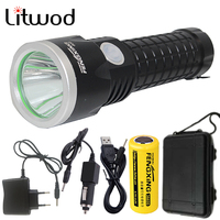 Litwod Z30902 Led Flashlight Torch XM-L T6 3800LM Rechargeable With 26650 Battery AC Charger Car Charger USB Charger & Tool Box