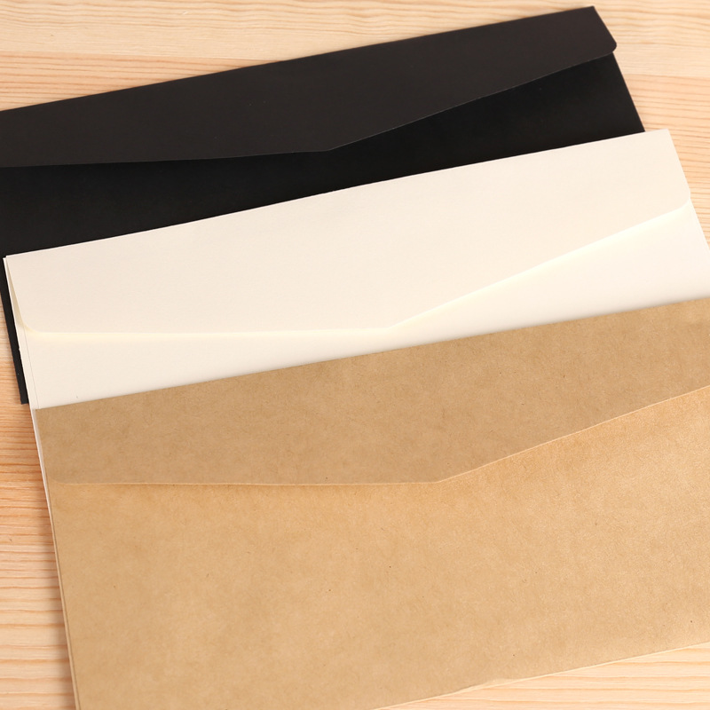 11x21cm Kraft White(not Pure White) Black Paper Envelope Message Letter Stationary Storage Paper Gift Wedding Invitation Cover