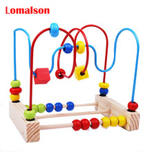 Wooden Circle Beads Maze Roller Coaster Toddlers Educational Toys Montessori Educational Counting Toys for Baby Kids Chilrden(China)