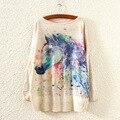 Nova Moda Outono Inverno Mulheres de Roupas Suéter E Pulôver Longo da Luva do Batwing Jumper Malhas Impressão Cavalo