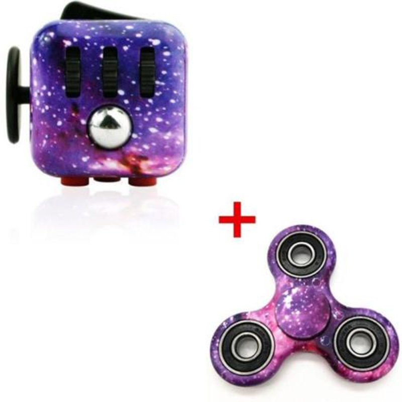 Mehechap Purple Galaxy Fid Cube and Cute Hand Spinner Set Ceramic