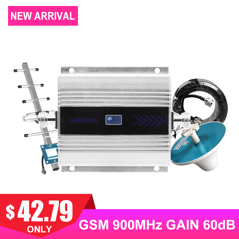 GSM 900MHZ Cellular Signal Amplifier LCD Display 2G Mobile Phone Signal Booster Repeater Yagi+Ceiling Antenna Coaxial Cable Kit/