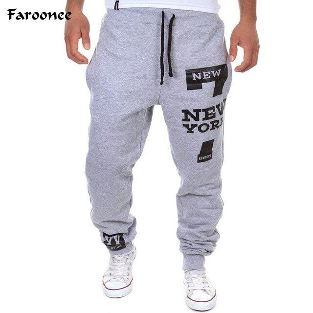 250d31d632eae Faroonee nouveau pantalon homme 7 New York lettre imprimer pantalons de  survêtement Joggers homme coton pantalon à lacets pantalon décontracté ...