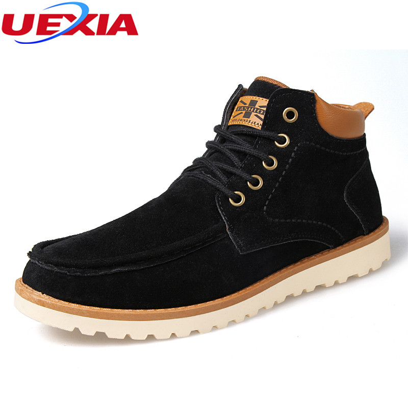 UEXIA Faux Suede Leather Men Boots Casual Shoes Ankle Boot Men's Snow Shoe Work Lace-Up Men Fashion Nubuck Leather Ankle Working men suede genuine leather boots men vintage ankle boot shoes lace up casual spring autumn mens shoes 2017 new fashion