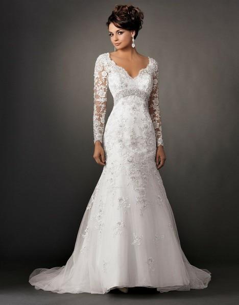 9074ceddce New Long Sleeve Organza White Mermaid Trumpet Wedding Dress-in ...