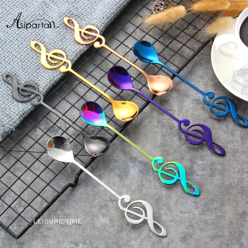 Asipartan 7Pcs/Set Creative Musical Note Spoon Coffee Stirring Scoop Stainless Steel Milk Tea Coffee Spoon Drink Cafe SpoonAsipartan 7Pcs/Set Creative Musical Note Spoon Coffee Stirring Scoop Stainless Steel Milk Tea Coffee Spoon Drink Cafe Spoon