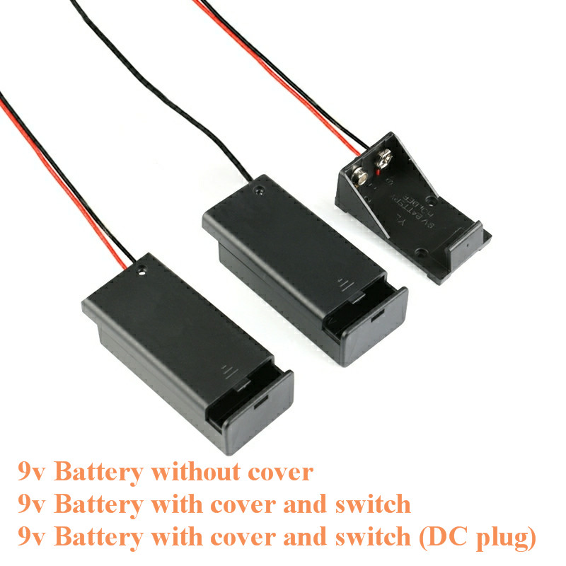 9V Battery Holder Box Case Wire With Plug Lead ON/OFF Switch Cover Case