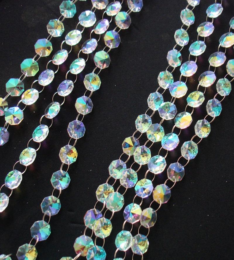 50 metros lote 14mm envío libre cristal stands Octagon cuentas cadenas  cristal guirnalda boda Navidad Decoración 81d00bf47b44