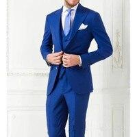 Partie Bleu Royal Hommes Costumes Smokings Groomsman tux faite sur commande de mariage Costumes slim fit mode bleu hommes costume (veste + Pantalon + Gilet)