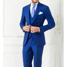 Party Royal Blue Men Suits Tuxedos Groomsman tux Custom made wedding Suits slim fit fashion blue men suit  (Jacket+Pants+Vest)