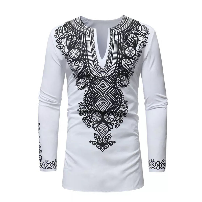 2 Colors Adult Men Spring & Autumn African Wear Dashiki Print Split Neck Full Sleeves Clothes Slim Pullover Shirt Top For Male