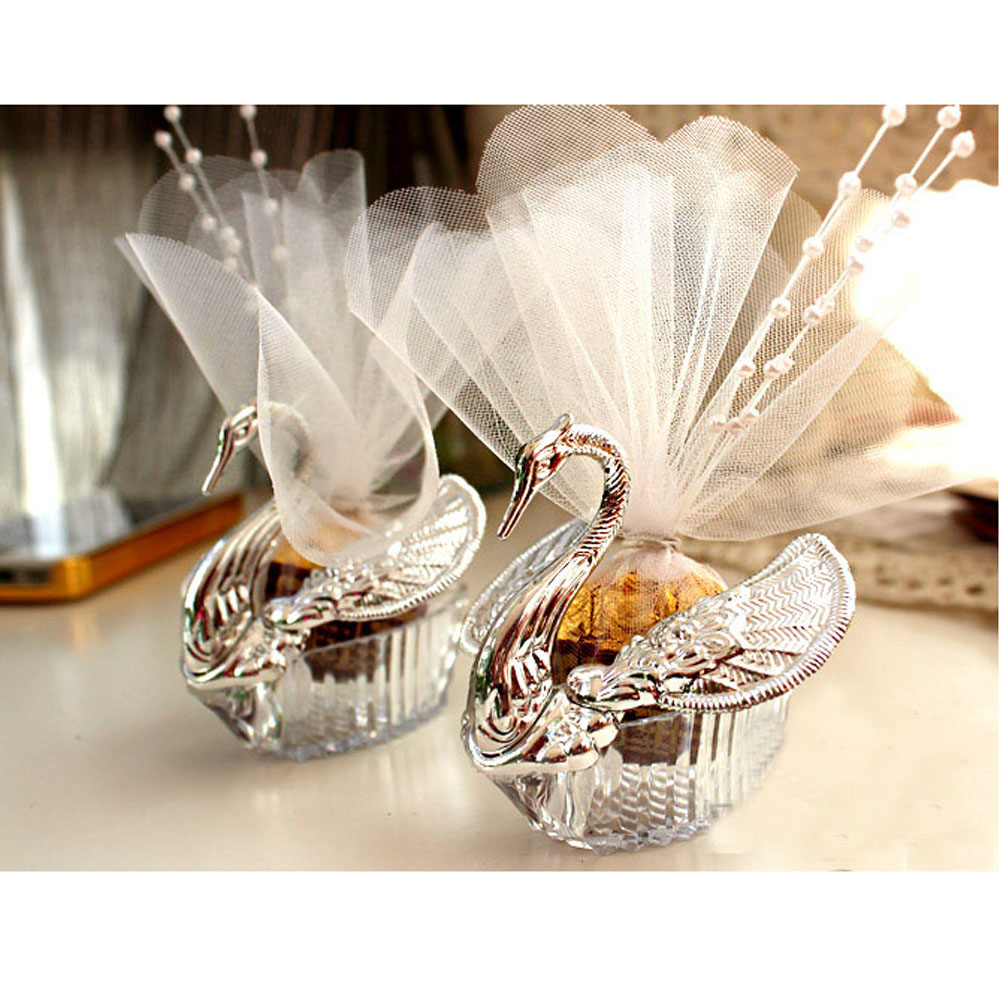 50 Pieces Acrylic Wedding Favor Swan Boxes Bomboniere Candy Box Gift ...
