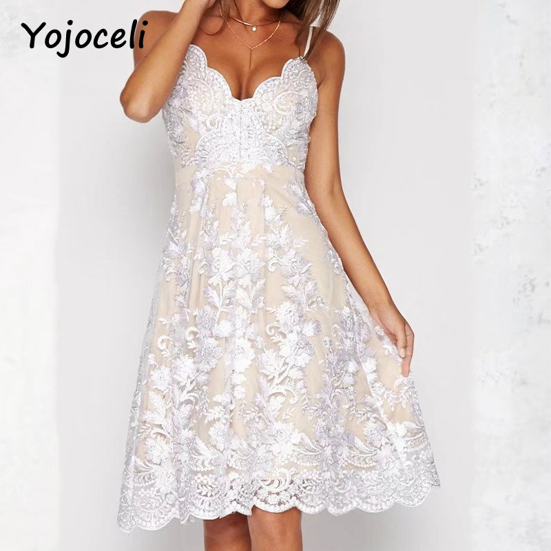 Cuerly V neck embroidery lace party brand dress women Sexy floral formal strap white dress vestidos Elegant knee length dress L5 in Dresses from Women 39 s Clothing