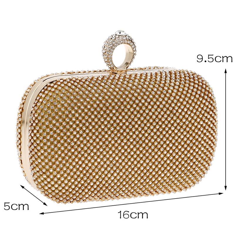 18a719f4b7069 SEKUSA Diamond Rhinestone Evening Clutch Bag Handmade Finger Ring Handbag  Purse Evening Wedding Party Bag Silver Black Gold-in Top-Handle Bags from  Luggage ...