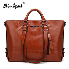 ELIM&PAUL fashion top-handle bags women handbag famous designer brand women tote bags ladies vintage leather shoulder bag A003