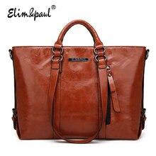 ELIM&PAUL fashion top-handle bags women handbag famous designer brand women tote bags ladies vintage leather shoulder bag A003