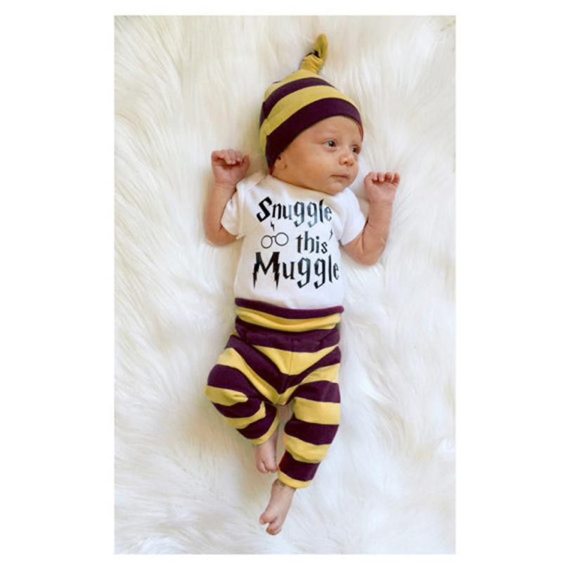 3PCS Newborn Clothing Baby Boy Girls Letters Top Rompers Pants Leggings Hat Striped Outfits Set Clothes Macacao Bebe #7915