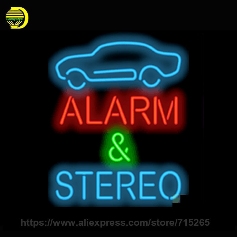 Neon Sign Alarm Stereo Board Handmade Glass Tube Free Design Neon Bulbs Neon Light Sign Business Advertise Bright Display 30x20