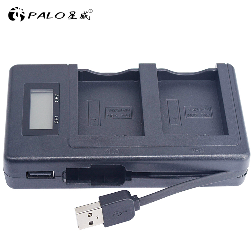 PALO NP-FW50 camera battery charger npfw50 fw50 LCD USB Dual Charger for Sony A6000 5100 a3000 a35 A55 a7s II alpha 55 alpha 7 A sony alpha a7s body black цифровая фотокамера