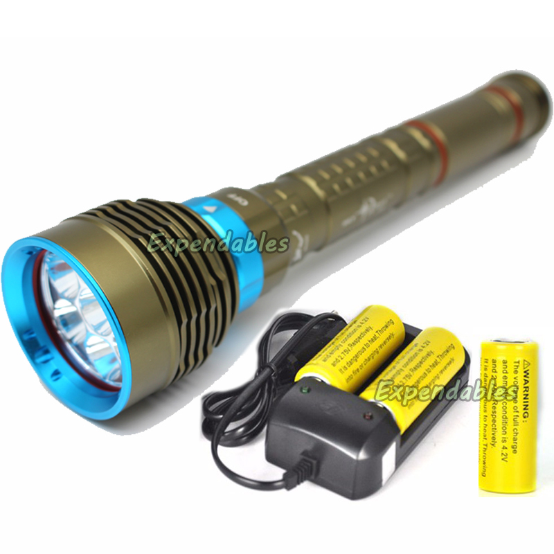 New SKYRAY diving led flashlight 14000Lm Diving 150M waterproof 7x XM-L2 LED Flashlight Torch + Charger + 3x 26650 Battery waterproof ultraviolet diving light 3x uv led lamp diving flashlight scuba torch dive lanterna pcb 26650 battery eu charger