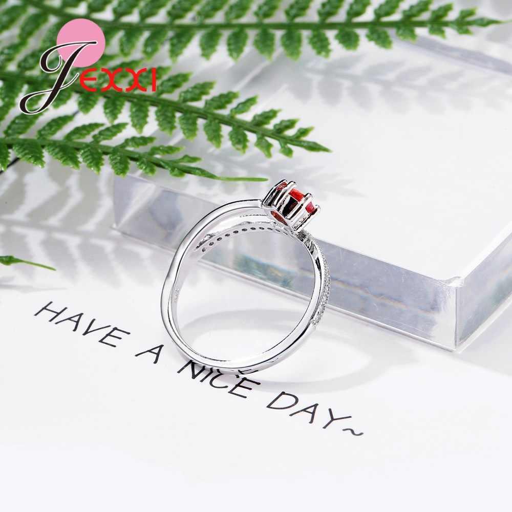 Neueste Design Kristall Weibliche Zubehör Luxus 925 Sterling Silber Versprechen Ringe Für Frauen Mädchen Hochzeit Partei Drop Shipping