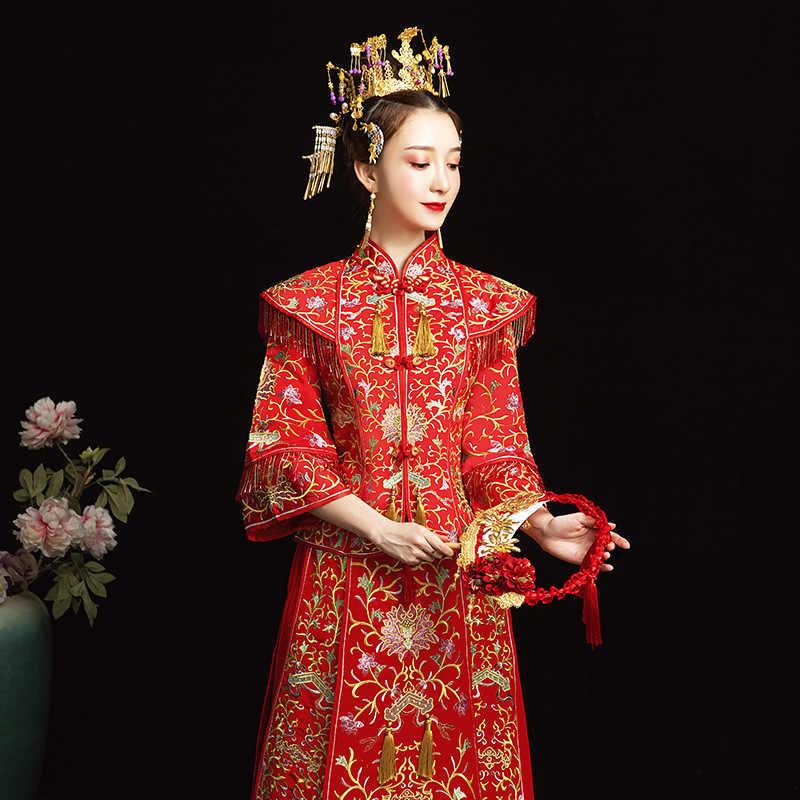 אדום הסיני מסורתי שמלת חתונה Qipao רקמת סו שמלת גלימת הכלה מודרני Cheongsam Chinoise מזרחי סגנון שמלת הערב