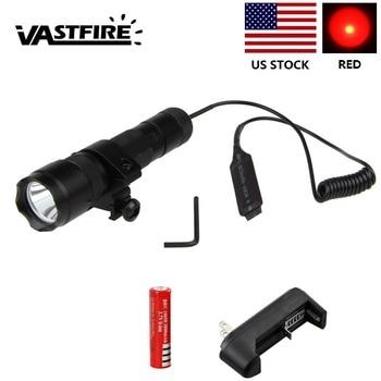 цена на WF-502B Red LED Tactical Hunting Flashlight Torch+Remote Pressure Switch+Light Mount Gun