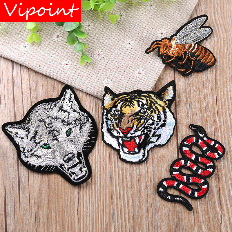VIPOINT embroidery tiger wolf bee patches snake badges applique for clothing YX-175